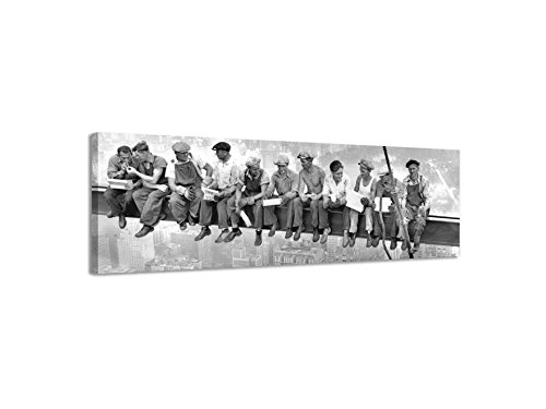 "Tela panoramica da parete su tela vintage in bianco e nero ""New York City Workers II"", Black/White, 158x46cm"