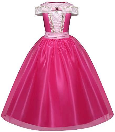 CVERY Aurora Vestido Princesa, Bella Durmiente Disfraz Rosa Disfraz, Halloween Fiesta Disfraz Princesa Vestidos para Niña, Edad 3-10 Años - como Imagen Show, 110cm