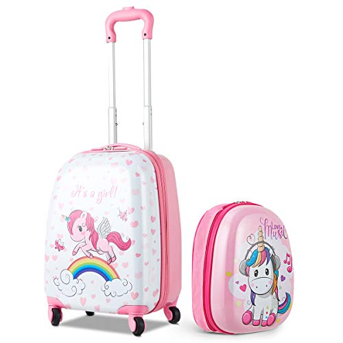GOPLUS Kinderkoffer 2 TLG. mit Rucksack Kinder Reisekoffer Set Kinder Trolly Kinder Gepäck (Einhorn)