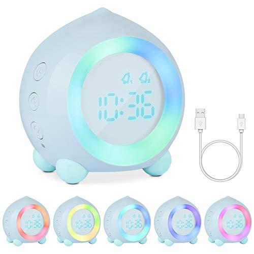 Gobesty Reloj Despertador con luz para niños, Reloj de cabecera sin tictac para niñas con Alarma Dual, iluminación del Estado de ánimo, repetición, simulador de Amanecer (Azul)