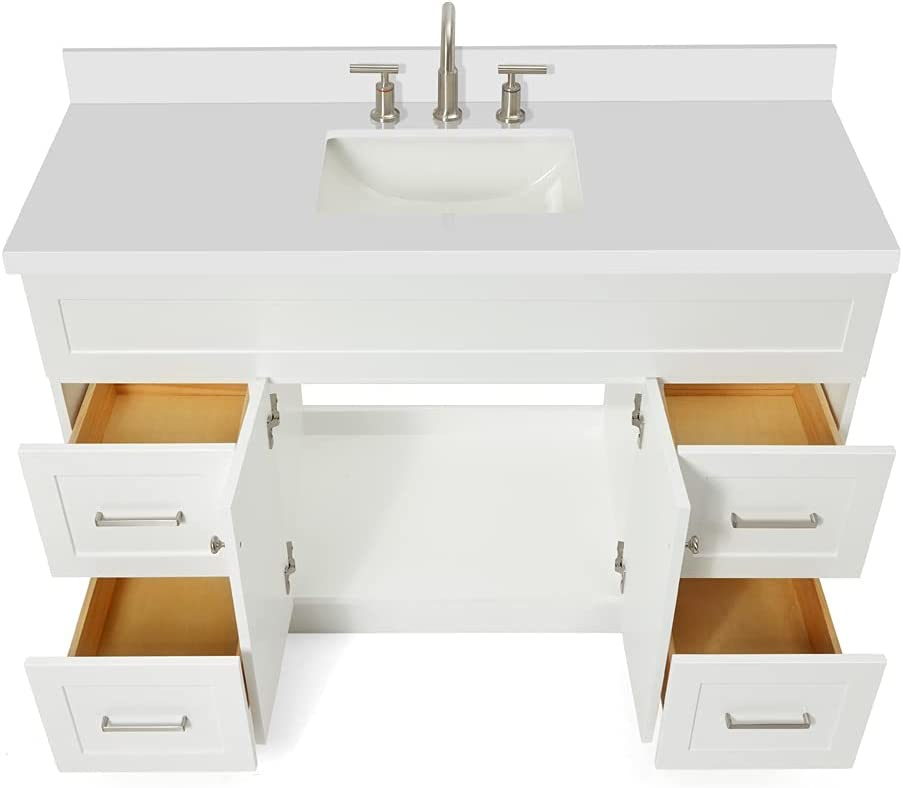 Buy Ariel Single Sink Bathroom Vanity Cabinet In White With Pure White Quartz Counter Top 2 Soft Closing Doors 4 Full Extension Dovetail Drawers Built In Toe Kick No