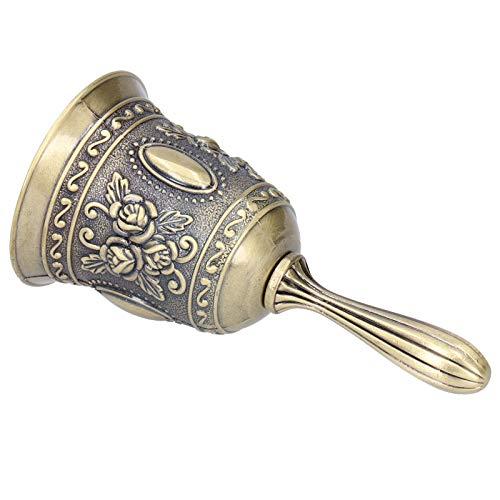 Qqmora Call Bell Metal Reception Bell Cena de Campana de Mano para Eventos de Boda(Green Patina)