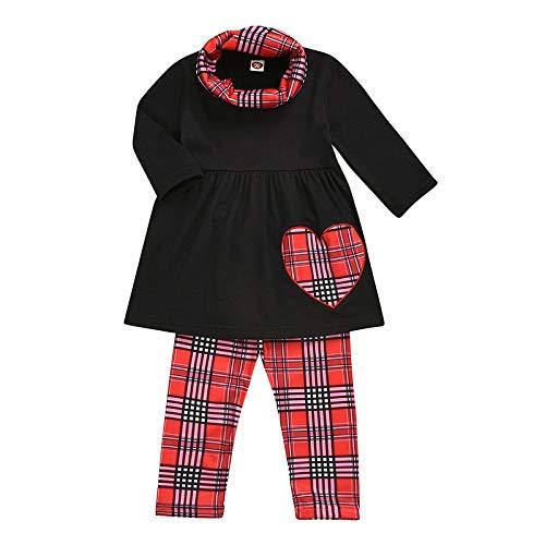 Baby Kinder Mädchen Solide Herz Drucken Tops + Plaid Drucken Hosen + Schal Sets-A