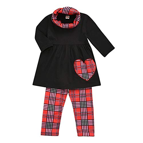 Baby Kinder Mädchen Solide Herz Drucken Tops + Plaid Drucken Hosen + Schal Sets-B