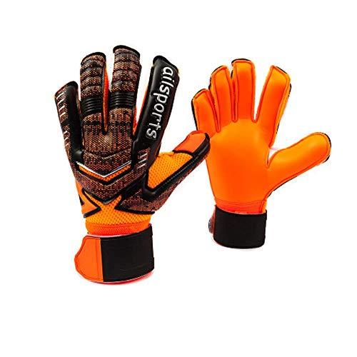 Coodoo - Guantes de portero de fútbol con protección para los dedos, agarre fuerte para los saltos más duros, guantes de portero para entrenamiento y partido, hombres y mujeres (negro y orienta, 5)