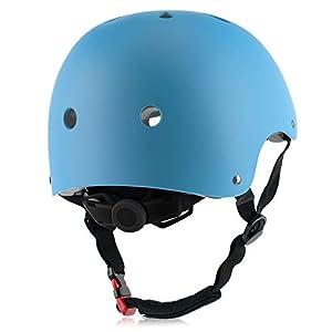Adult Skateboard Bike Helmet for Men and Women, Lightweight Adjustable, Multi-Sport for Bicycle Cycling Skate Scooter (Blue, Large)