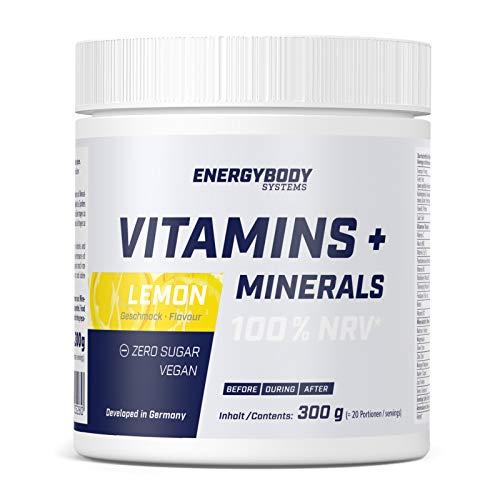 Energybody Vitamins + Minerals Pulver mit 10 Vitaminen + 8 Mineralstoffen, Multivitamin Mineralstoff Drink, 300g, Lemon-Geschmack, vegan