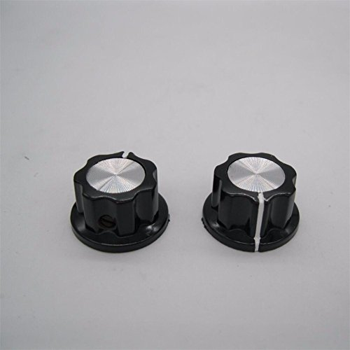 "Taiss / 10pcs Silver Tone Top Rotary Knobs for 6.4mm / 0.25"" Dia. Shaft 3590s Potentiometer, Switch Knob Top Diameter: 23mm Black A03-6.4mm"