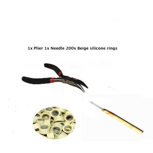 Kit plume aiguille extension cheveux anneaux silicone Beige 200 5 mm.