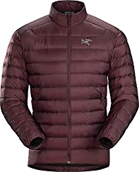 This down jacket buying guide photo shows the men's Arc'teryx Cerium LT down jacket in the Flux color option.