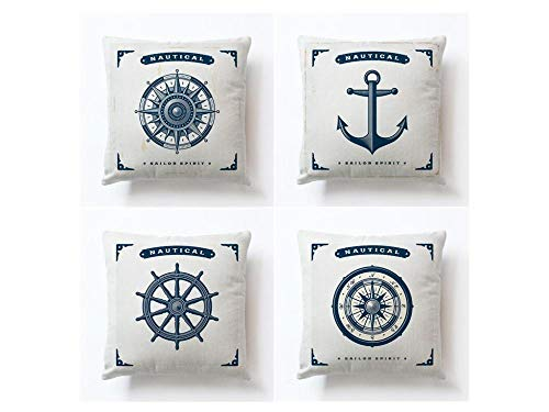 Jwqing Pack of 4 Decorative Pillow Covers Sailing Ships Anchor Rudder Pattern Square Cushion Cover Throw Pillow Covers Home Decor for Sofa Bedroom-A_60x60cm(Cushion_Cover)