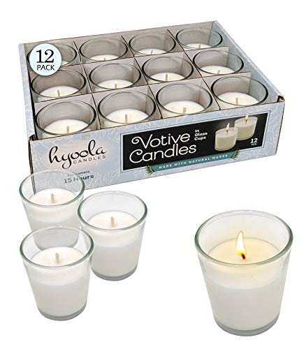 White Votive Candles - 12 Pack - Clear Glass Cups, Unscented, Extra Long 15 Hour Burn Time - for Party Decorations, Birthday, Wedding and Dinner Centerpieces - Hyoola