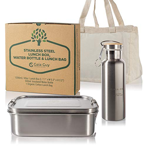 Stainless Steel Lunch Box (1200ml) + Insulated Reusable Bottle (500ml 17oz) Bento Box Stainless Steel Sport Bottle Perfect 4 Kids or Adults Work Lockable Clips and Silicone Seals Leak Proof BPA-Free