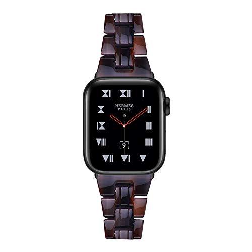 Fhony Compatible con Apple Watch 38Mm 40Mm 42Mm 44Mm Iwatch Series SE/6/5/4/3/2/1 Correa de Resina con Hebilla de Acero Inoxidable Correa de Repuesto Publicación Rápida,Chocolate,38/40mm