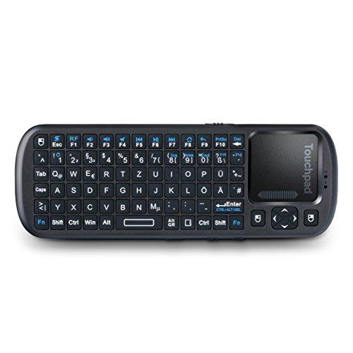 CSL - Mini Wireless 2,4GHz Keyboard inkl. Touchpad Maus - Multifunktionsboard Fernbedienung - QWERTZ deutsches Layout - On Off-Schalter - multitouchfähig