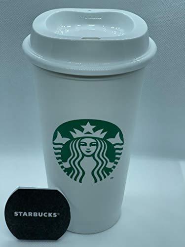 Starbucks blanco reutilizable taza de viaje taza vaso Grande tamaño mediano, 16 oz 473 ml