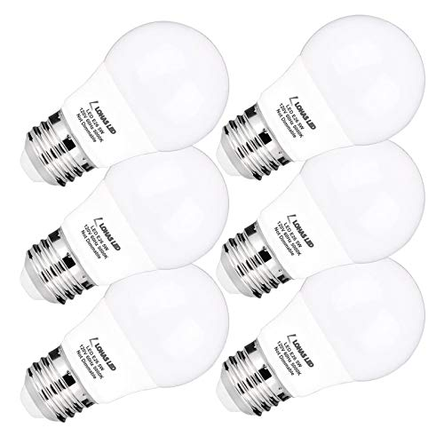 LOHAS A15 Light Bulb, LED 40 Watt Equivalent 120v Bulbs, Daylight 5000K LED Lights, E26 Medium Base, Small for Refrigerator Bulb, Home Bulb Ceiling Fans Bedroom Kitchen Lighting, Not-Dim,6 Pack