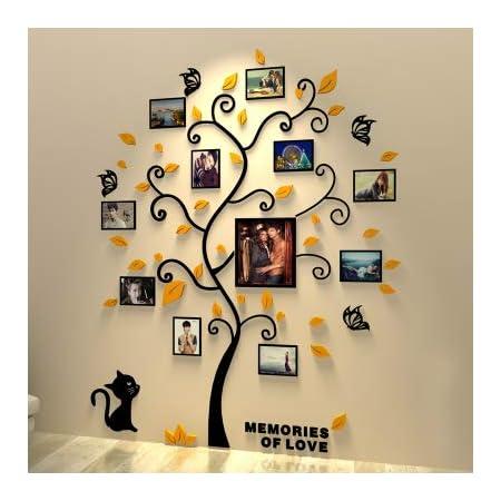 Tree Pattern Wall Sticker Home Decor 3D Photo Frame Crystal-like Durable Acrylic