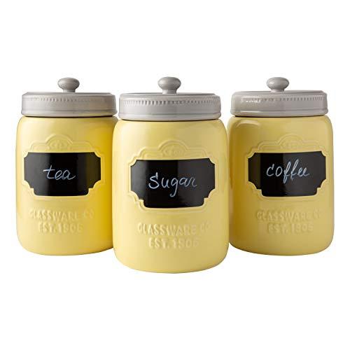 Comfify Juego de 3 contenedores Decorativos con Tapas herméticas para café, azúcar y más - Almacenamiento Estilo rústico con Superficie de Escritura Reutilizable – 380ml/ bidón. - Amarilla