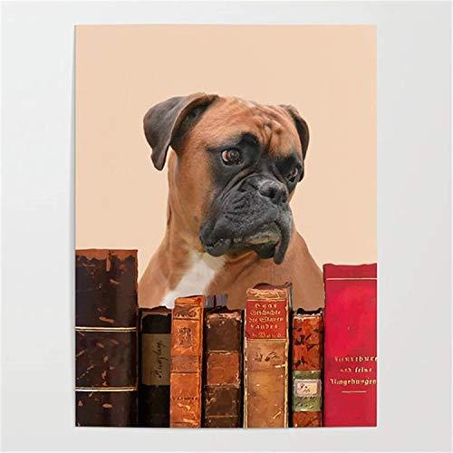 DIY-Kits de Pintura por números para Adultos Perro Bulldog y Libro(30X40cm Sin Marco) para niños Adultos Principiantes y Ancianos Pintura de Bricolaje por números Arte de Pared
