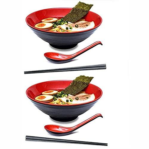 2 Sets Ramen Bowl con Palillos Y Cucharas, Conjunto De Tazón Grandes Japoneses para Pasta Udon Pasta Soup Bowl