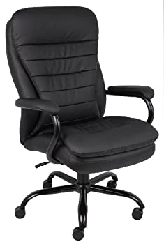 Boss Office Products Heavy Duty Double Plush CaressoftPlus Chair-400 Lbs Black