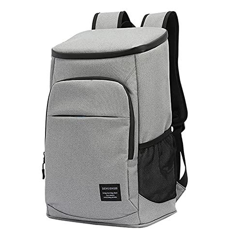 KUKU 33L Oxford Big Cooler Bag Thermo Lunch Picnic Box Mochila Fresca Aislada Bolsa De Hielo Bolsas De Hombro Térmicas Portadoras Frescas,Gris