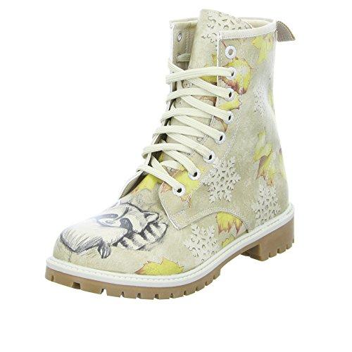 DOGO Damen Stiefel Raccoon Schnürstiefelette Boots Waschbär Beige