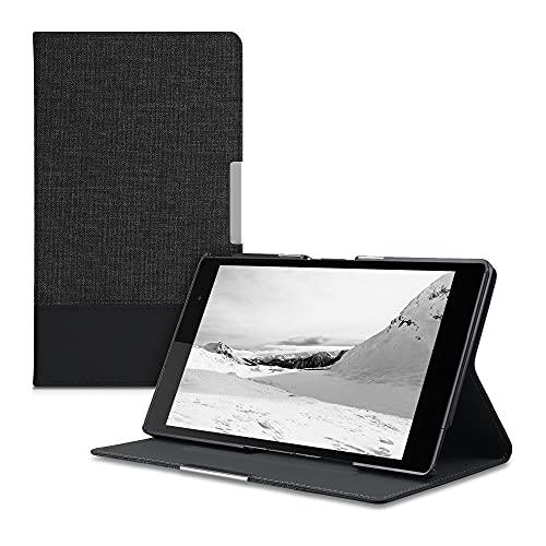 kwmobile Funda Compatible con Sony Xperia Tablet Z3 Compact -Carcasa de Tela para Tablet con Soporte en Antracita/Negro