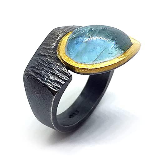 Exclusivo anillo con preciosa Aguamarina en talla gota de medidas 12 mm x 8 mm. Anillo.