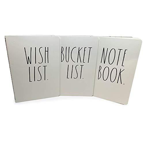 Pacote com 3 cadernos Rae Dunn, lista de desejos, lista de baldes, caderno