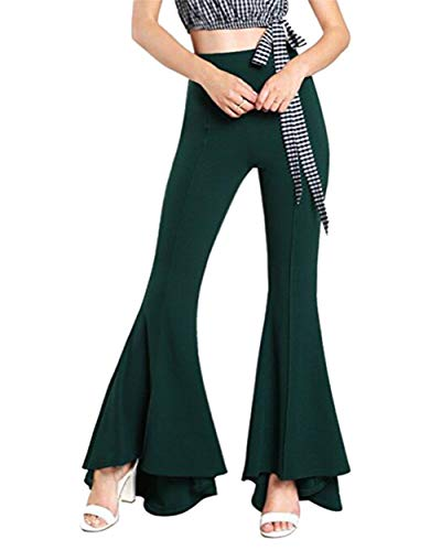GODGETS Disfraz de Chica Guay de los 70, Pantalones de Campana,Ejercito Verde,3XL