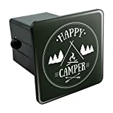 Graphics and More Happy Camper with Campfire Tow Trailer Hitch Cover Plug Insert 2'