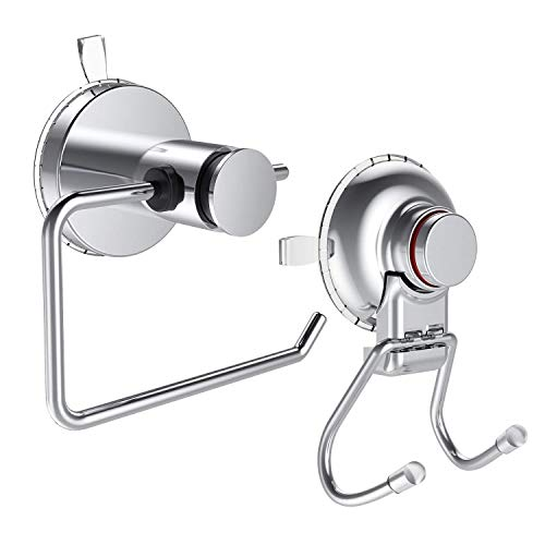 CQSTIME Toilet Roll Holder & Suction Cup Holder | Perfect Household Accessory | Ideal for Toilets & Bathrooms | Stainless Steel Chrome Finish | Easy to Install & Remove | Works on all Flat Surfaces