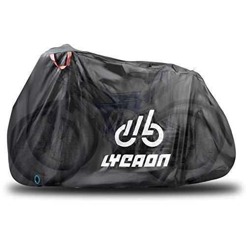LYCAON Copribici Impermeabile, Protezione Antipioggia per Bici con Protezione UV Copertura Bicicletta per Mountain Bike da Bici da Corsa (for 3 x 29 inch Bike/Nero)