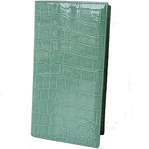 遁甲盤入り手帳カバー 風水・気学・方位 95×170×6mm対応 クロコダイル調 (エメラルドグリーン)