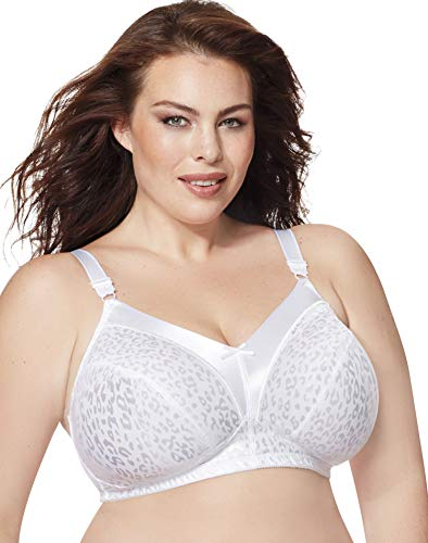 Just My Size Women's Satin Stretch Wire Free Plus Size Bra (1960), White, 48D