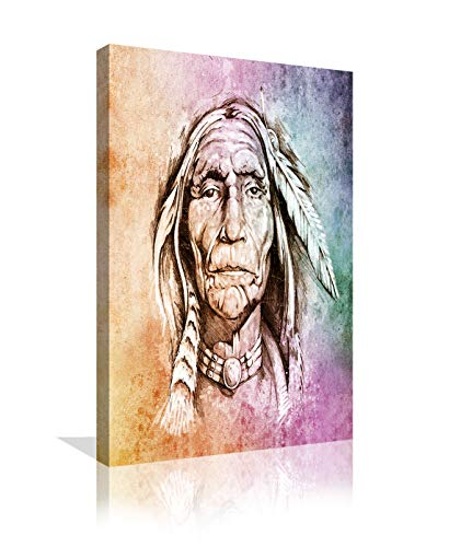 Native American Indians Canvas Wall Art American Indian Chief Poster Photos Paintings Print Self Portrait Picture Home Decor Artwork for Living Room Framed Ready to Hang