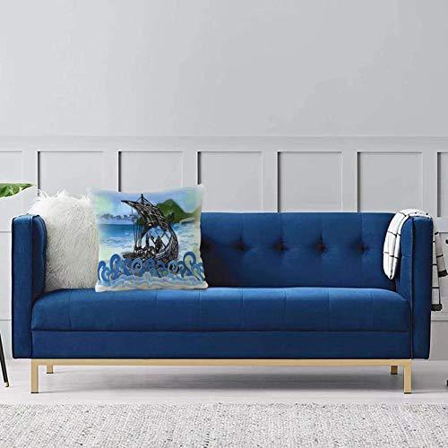 Set de 1 x Funda de Almohada 45x45 cm,Nordic, Drekar Boat Vikings Ship Guerrero Barbudo con Ilustraciones de Olas de mar arremolinadas Fundas de Cojines de Calidad con una Suavidad Incomparable