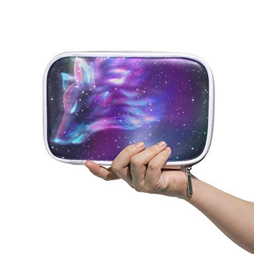 MOFEIYUE Pencil Case Holder Galaxy Star Animal Wolf Zipper Pencil Pouch Cosmetic Makeup Brush Bag Stationery Pen Box Passport Organizer Bag