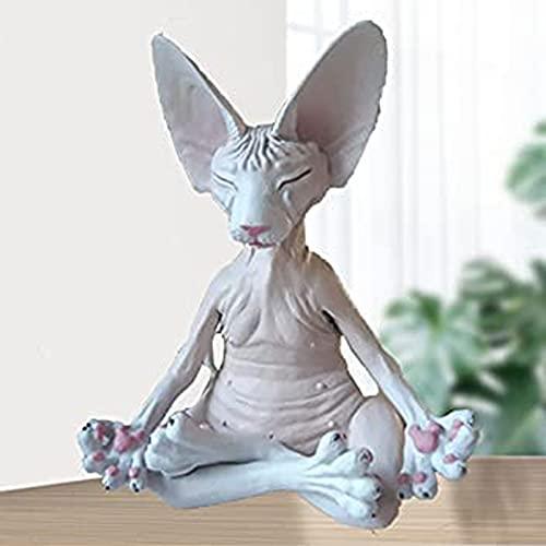 LEMORTH Méditation Sphynx Cat Figurine Jardin Maison extérieure Salon Décoration Sculpture Décoration Résine Matériel pour Jardin Maison extérieure Salon Décoration (Color : Blanc)