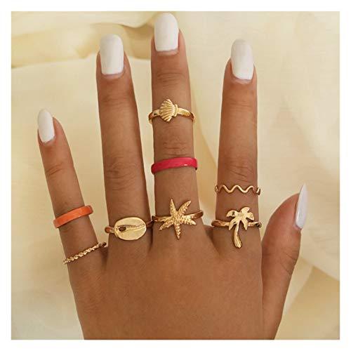 XDDT Juego de 11 anillos de boda retro con forma de corazón de piña redonda y nudillos para mujer, anillo de oro de eternidad (color de la piedra principal: 8 piezas 2)