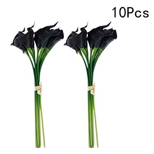 VORCOOL Flores Artificiales, 10 Piezas de Flores Artificiales de Cera Lily Real Touch Ramos de Flores para Nupcial Wedding Bouquet Head (Negro)