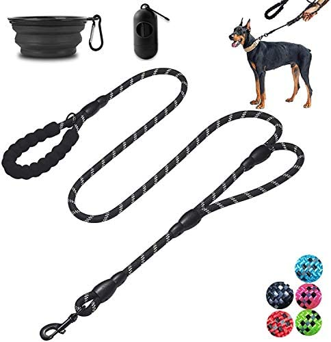 Moonpet Dog lead – 6 FT Heavy Duty Double Handle Reflective Dog lead with Comfortable Padded – Rope Dog lead for Medium Large Dogs-Black
