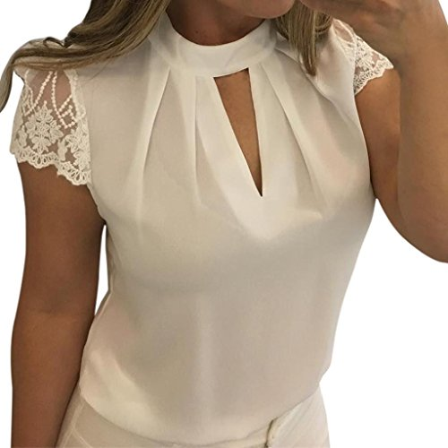 JUTOO Frauen Casual Chiffon Kurzarm Splice Lace Crop Top Bluse(Weiß, EU:38/CN:M)