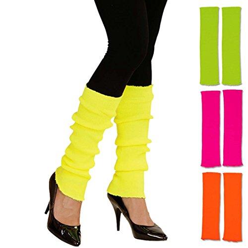 Amakando Beinstulpen neonfarben leuchtende Stulpen 80er gelb krelle Legwarmer schrille Aerobic Stutzen Fitness Outfit Accessoire 80er-Outfit Zubehör