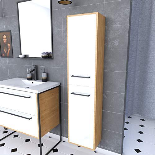 Mueble de ducha colgante con 2 puertas, 30 x 35 cm, color blanco mate