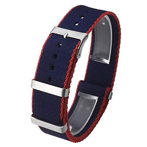 JSDDE Nylon NATO Uhrenarmband Textil Uhrenband Uhrband Sport Militär Ersatzarmband mit Edelstahl Dornschließe 22mm Watch Strap Blau/Rot