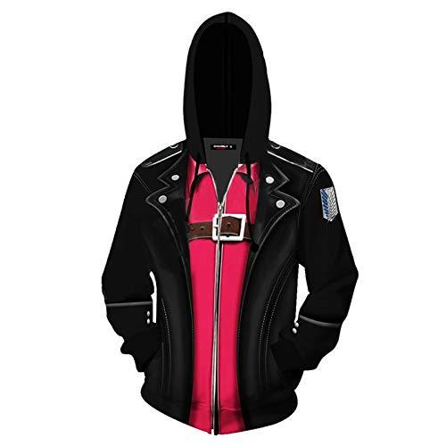 Mikasa Ackerman Cosplay Attack On Titan Ynew, 3D Printed Cos Hoodie Anime Zipper Cardigan Men's Jacket(S-5XL) Black
