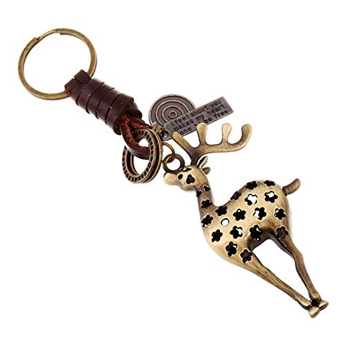 Afairy Key Holder, Retro Sika Deer Pendant Key Chain Woven Leather Keychains Alloy Punk Key Rings Jewelry For Men Women (Color : Bronze)